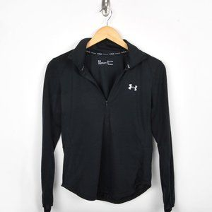UNDER ARMOUR WOMEN'S Size S Small 1/2 ZIP LONG SLEEVE BLACK RUNNING TOP